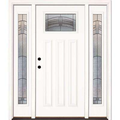 67.5 in. x 81.625 in. Rochester Patina Craftsman Unfinished Smooth Right-Hand Fiberglass Prehung Front Door w/ Sidelites