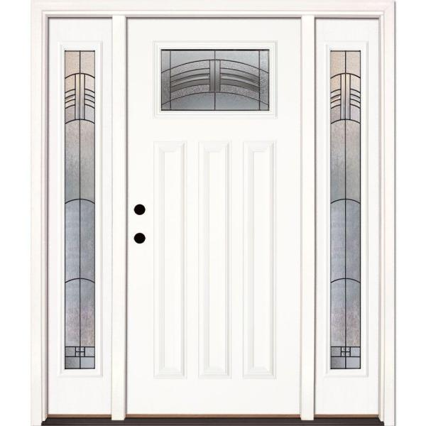 63.5 in. x 81.625 in. Rochester Patina Craftsman Unfinished Smooth Right-Hand Fiberglass Prehung Front Door w/ Sidelites