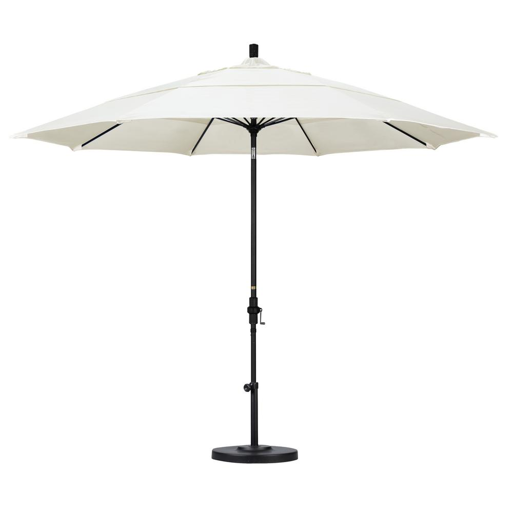 11 ft. Fiberglass Collar Tilt Double Vented Patio Umbrella in Canvas