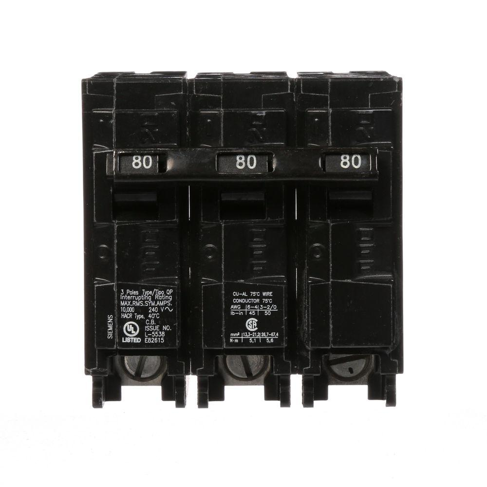 Siemens 80 Amp 3-Pole Type QP Plug-In Circuit Breaker