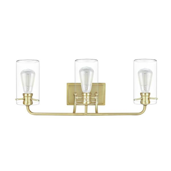 3-Light Antique Brass Vanity Light with Clear Glass Shade