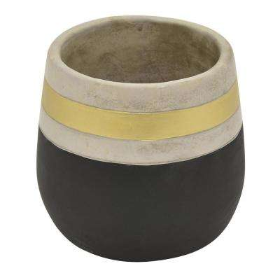 7.25 in. Flower Pot Black and Gold