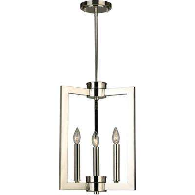 Jordon 3-Light 13 in. 60-Watt Polished Nickel Pendant