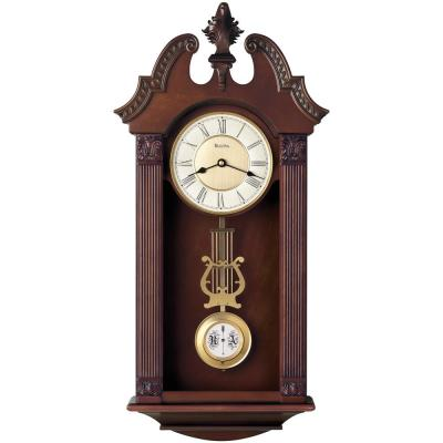 24.75 in. H x 13 in. W Pendulum Chime Wall Clock