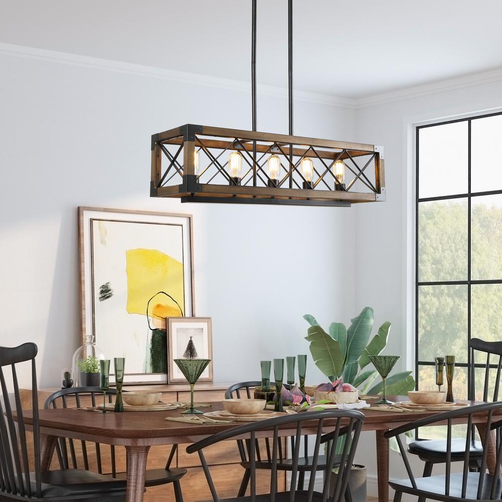 Lnc Solid Wood Modern Farmhouse, Farmhouse Dining Room Light Black