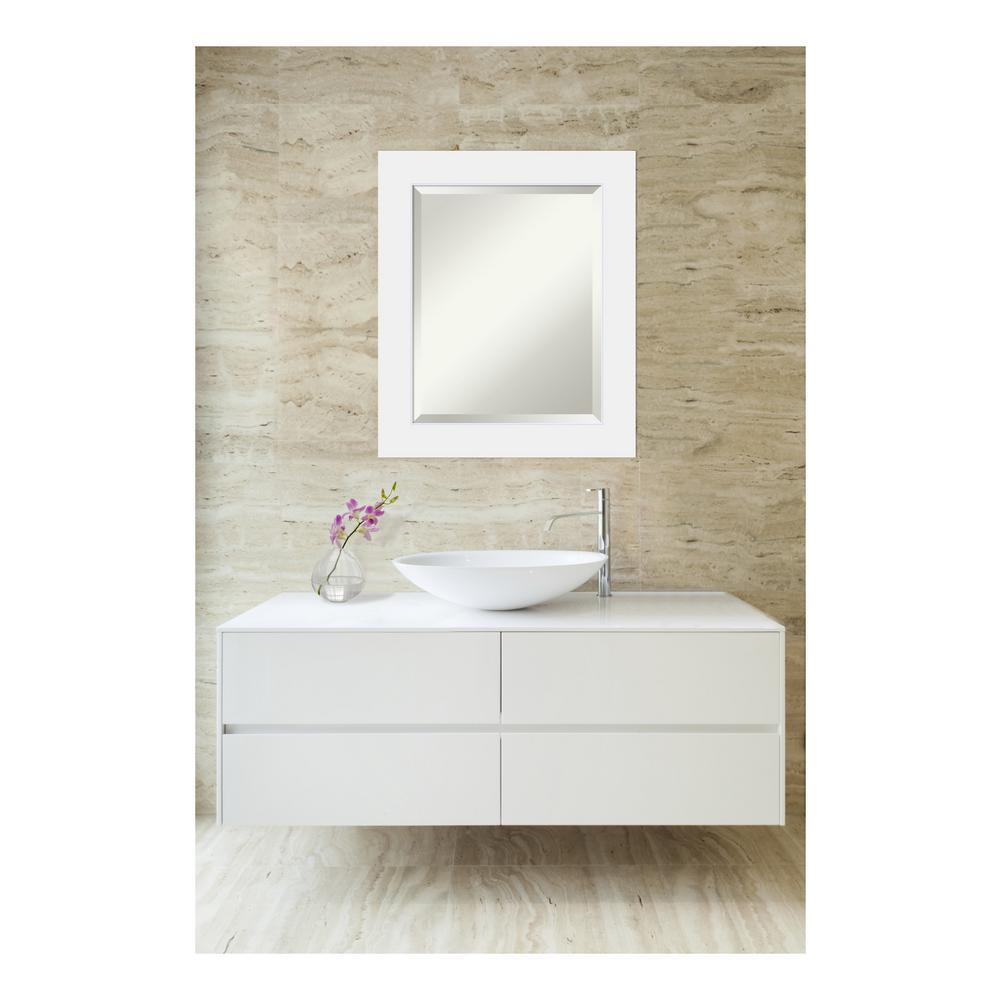 Corvino Satin White Wood 21 in. W x 25 in. H Single Contemporary Bathroom Vanity Mirror
