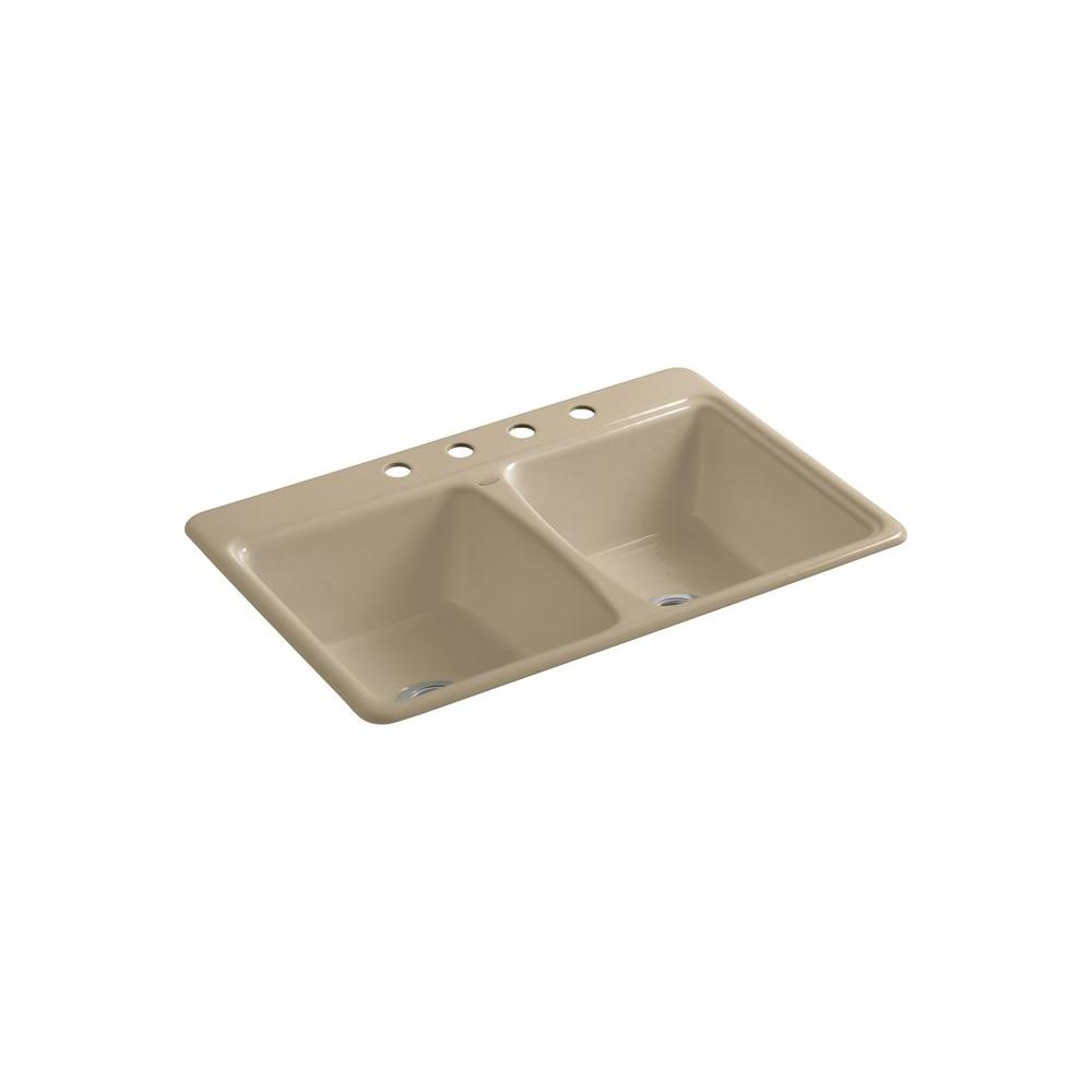 KOHLER Deerfield Self-Rimming Cast Iron 33x22x8.625 4-Hole Kitchen Sink in Mexican Sand-DISCONTINUED