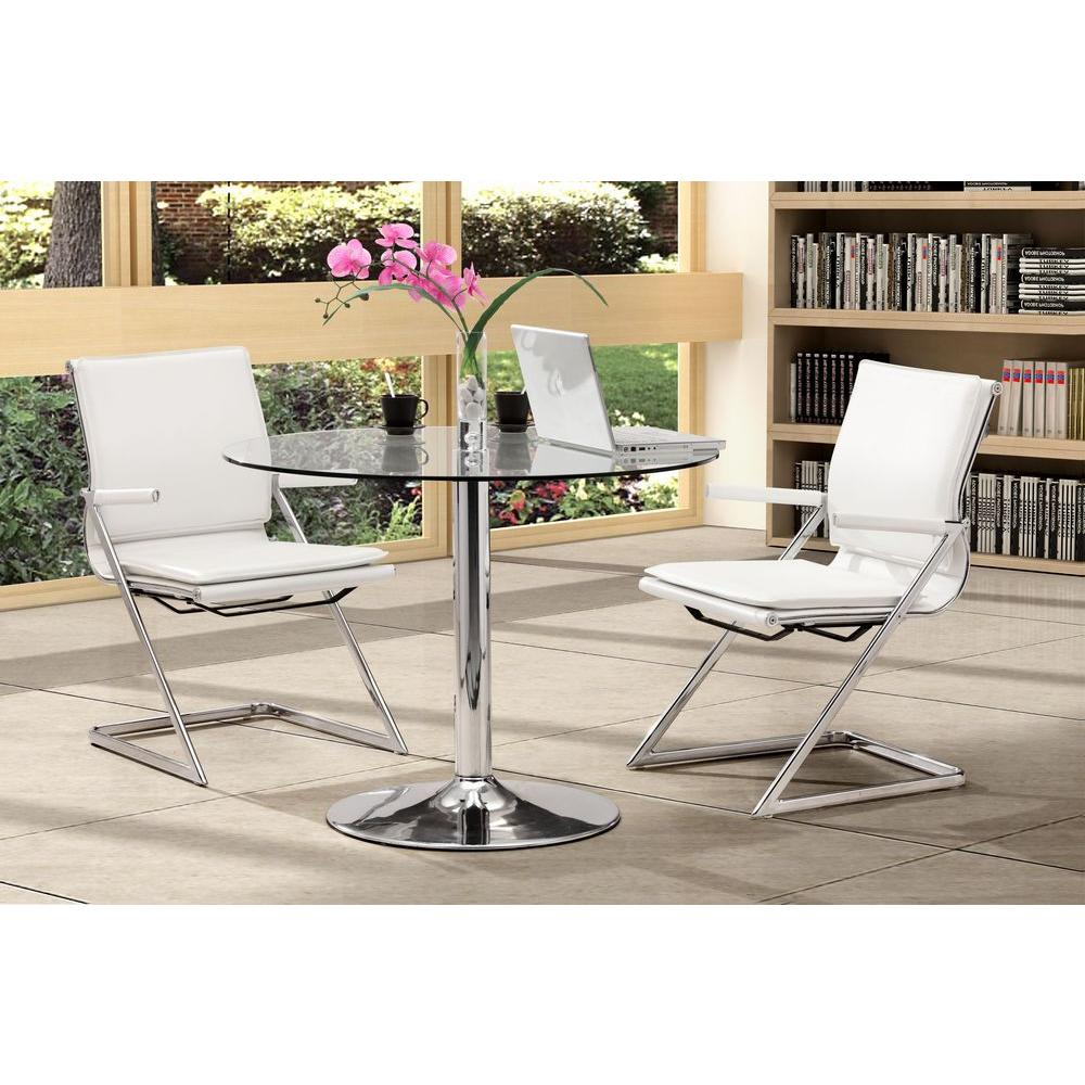 zuo lider plus white leatherette conference office chair set of 2 215211 the home depot. Black Bedroom Furniture Sets. Home Design Ideas