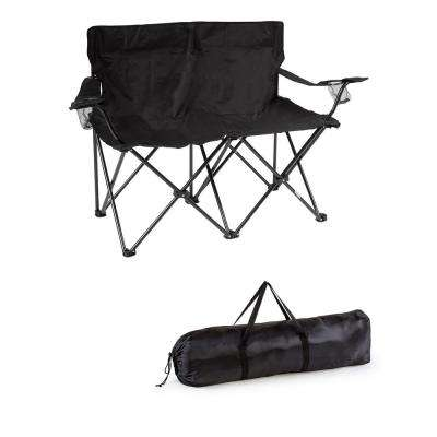 Black 31.5 in. H Loveseat Style Steel Frame Double Camp Chair