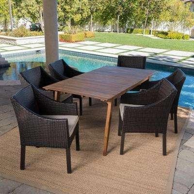 Vivian Teak Brown 7-Piece Wood Outdoor Dining Set with Beige Cushions