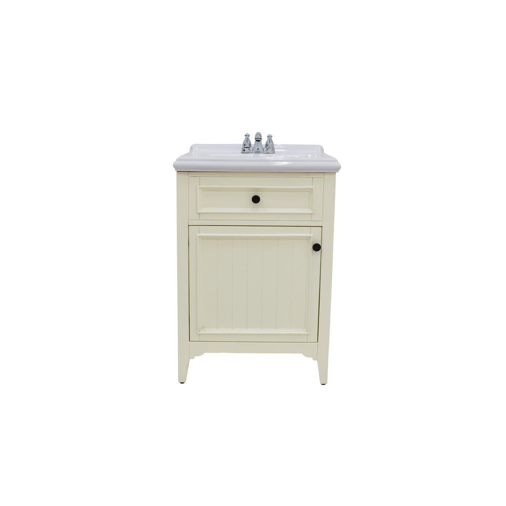 222 Fifth Rustic 24 In W Bathroom Vanity In White With Ceramic Vanity Top In White With White Basin