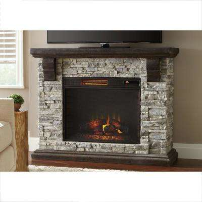 Highland 50 in. Faux Stone Mantel Electric Fireplace in Gray