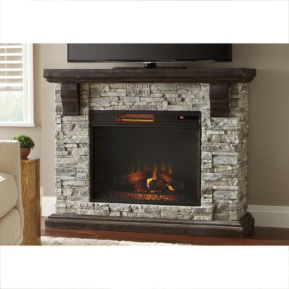Outstanding Home Decorators Collection Highland 50 In Faux Stone Mantel Electric Fireplace In Gray Interior Design Ideas Tzicisoteloinfo