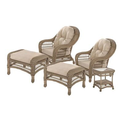 Saturn Collection 5-Piece Wicker Patio Conversation Set with Beige Cushions