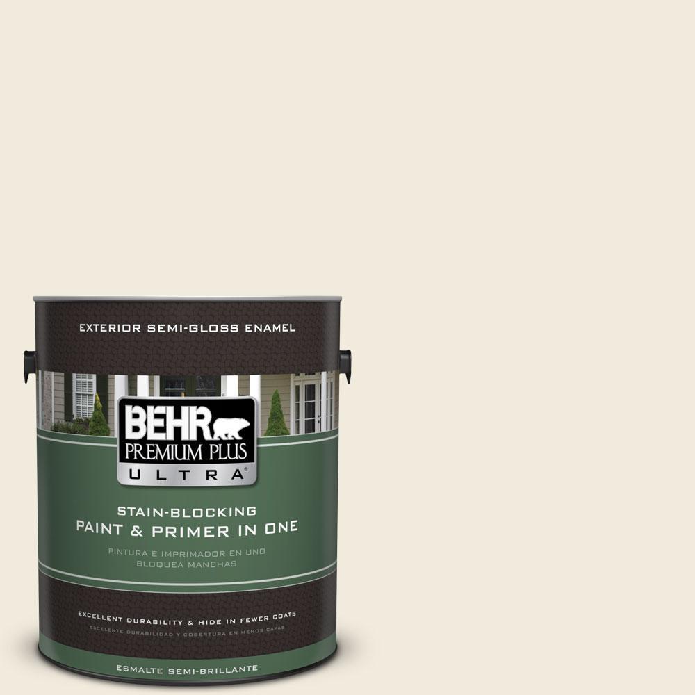 BEHR Premium Plus Ultra 1-gal. #PPU7-13 Coastal Beige Semi-Gloss Enamel Exterior Paint