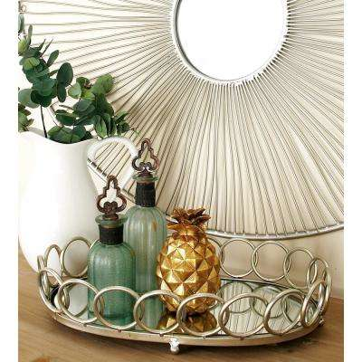 Modern Silver Decorative Oval Ring Mirror Trays (Set of 2)