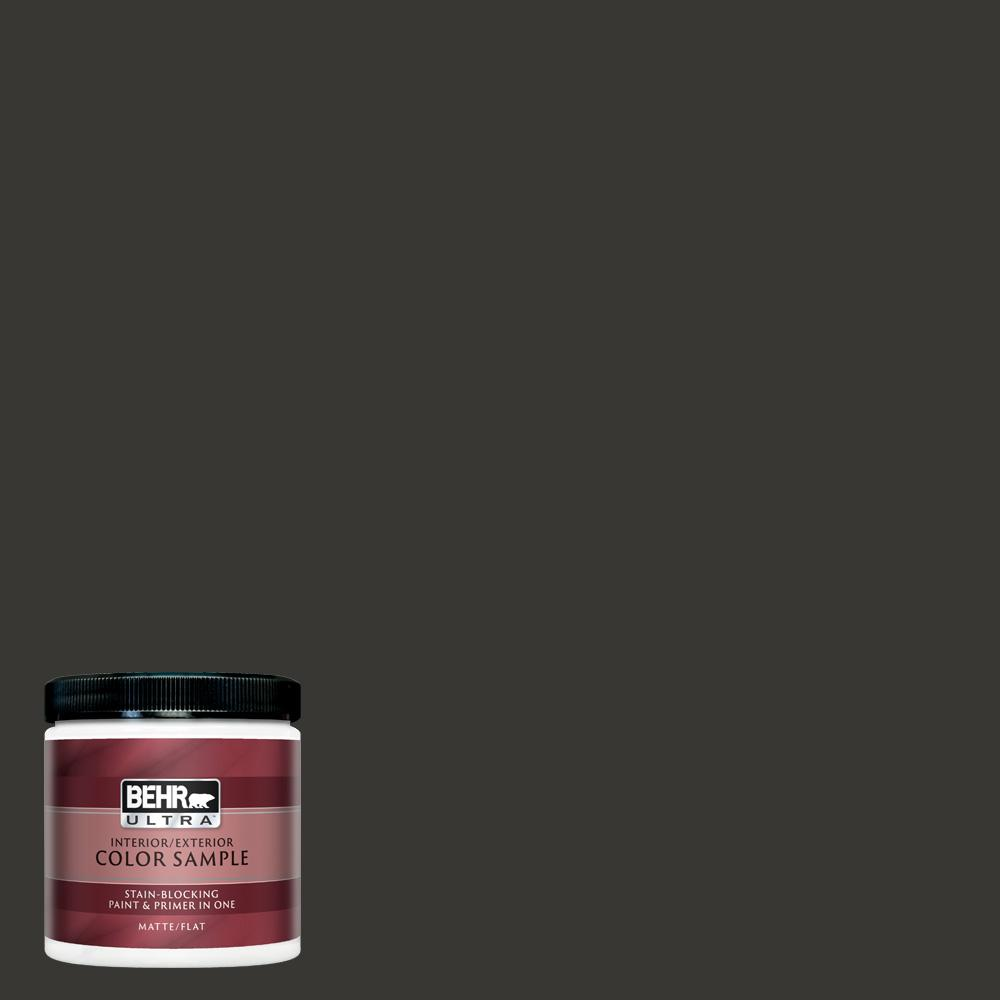 Behr Ultra 8 Oz Black Matte Interior Exterior Paint And Primer In One Sample Ul20316 The Home Depot