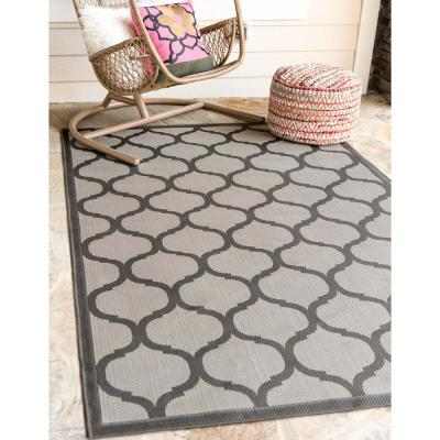 Outdoor Moroccan Gray 5' 3 x 8' 0 Area Rug