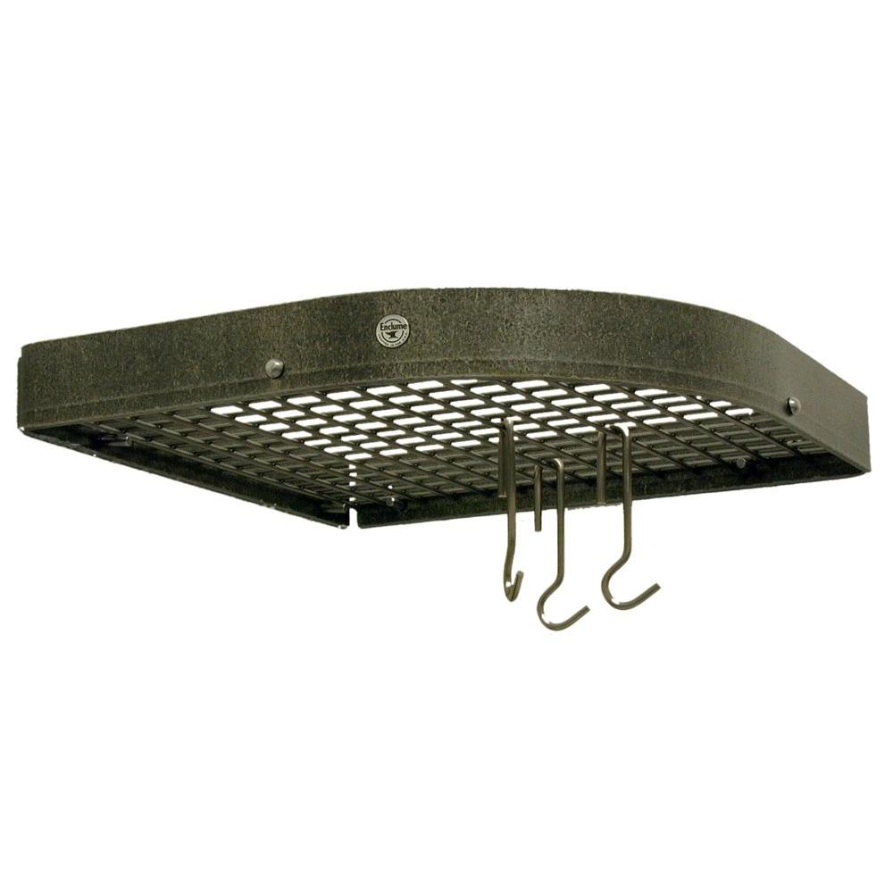 Premier Large 16 in. Corner Pot Rack in Hammered Steel