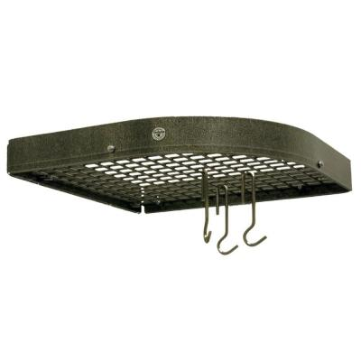 Handcrafted Large 16 in. Corner Wall Pot Rack with 12 Hooks Hammered Steel