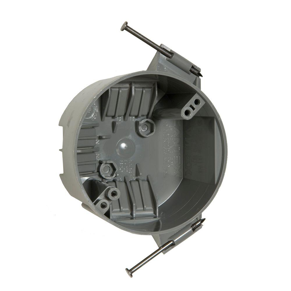RACO 4 in. Round Non-Metallic Ceiling Cable Box, 2-3/8 in. Deep (75 ...