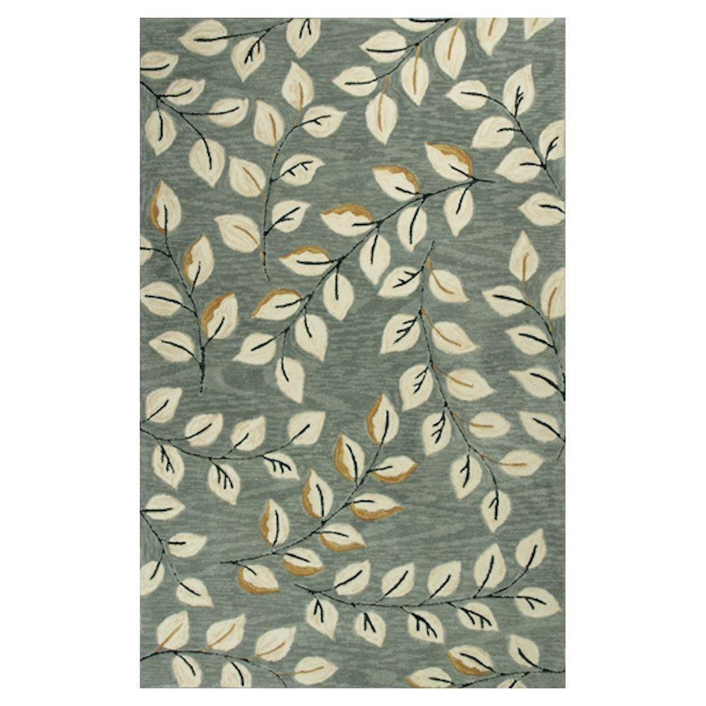 Kas Rugs Leaves Galore Grey/Cream 7 ft. 9 in. x 9 ft. 9 in. Area Rug