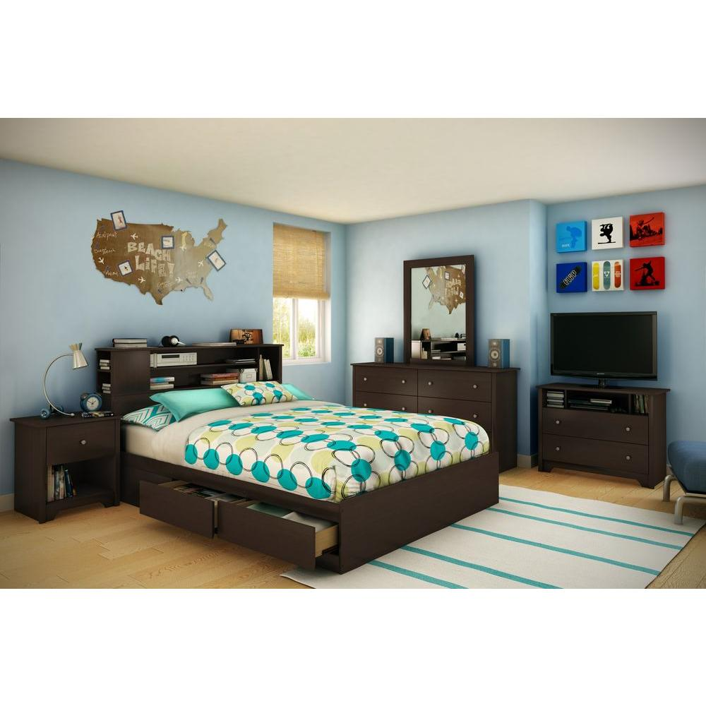 south shore vito full queen size bookcase headboard in chocolate 3119092 the home depot. Black Bedroom Furniture Sets. Home Design Ideas