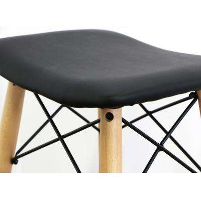Retro Modern Faux 30 in. Black Leather Kitchen Barstool