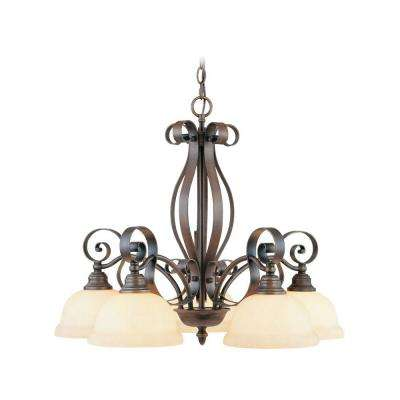 5-Light Imperial Bronze Chandelier with Vintage Scavo Glass
