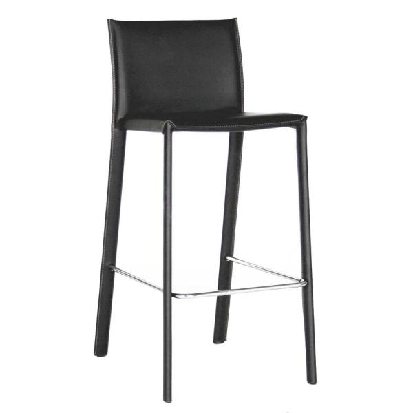 Baxton Studio Crawford Black Faux Leather Upholstered 2-Piece Counter Stool Set