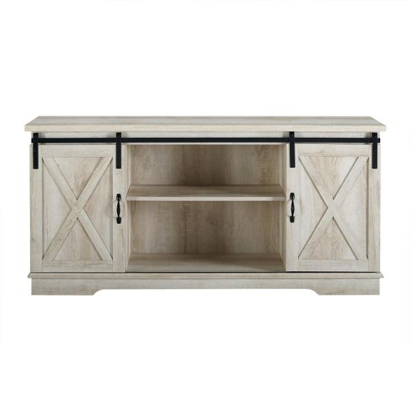 58 in. Solid White Oak Composite TV Stand 64 in. with Doors