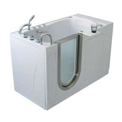 Elite 52 in. Acrylic MicroBubble Air Bath Walk In Tub in White with 5 Piece Thermostatic Faucet Set LH 2 in. Dual Drain