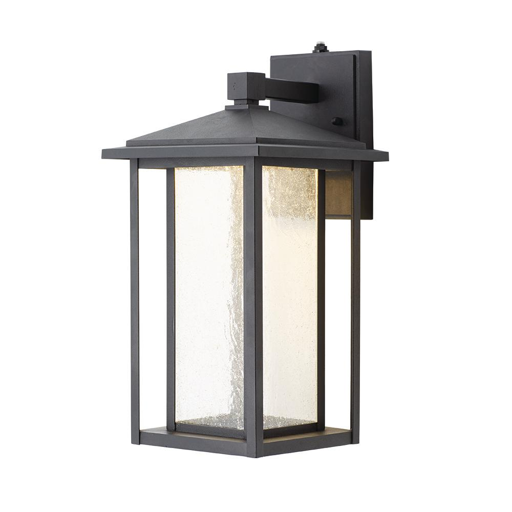 Black Medium Outdoor Seeded Gl Dusk To Dawn Wall Lantern