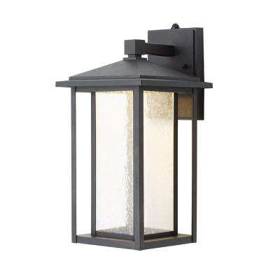 Black Medium Outdoor Seeded Glass Dusk to Dawn Wall Lantern