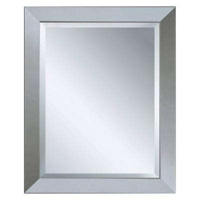 40 in. x 28 in. Modern Wall Mirror in Brushed Nickel