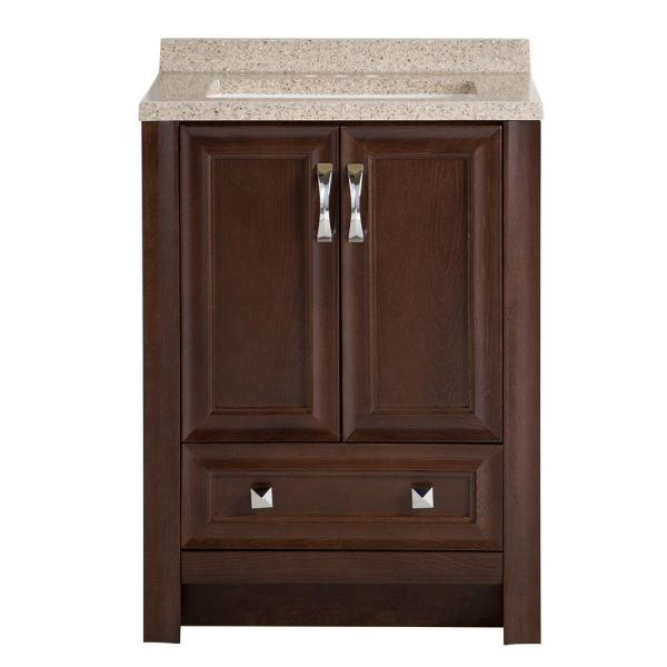 Candlesby 24 in. W x 19 in. D Bathroom Vanity in Cognac with Solid Surface Vanity Top in Autumn with White Sink
