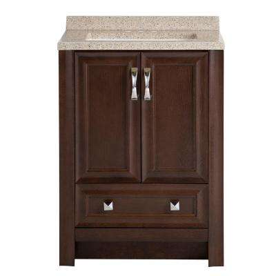 Candlesby 24-1/2 in. W x 18-3/4 in. D Bath Vanity in Cognac with Solid Surface Vanity Top in Autumn
