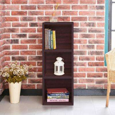 Wynwood 3-Shelf Espresso Eco zBoard Tool Free Assembly Narrow Bookcase Storage Organizer