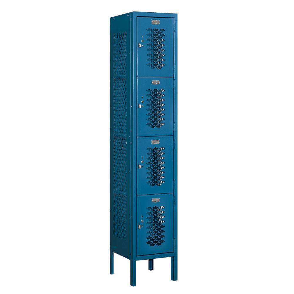 74000 Series 4-Tier 12 in. W x 66 in. H x 12 in. D Vented Metal Locker Assembled in Blue