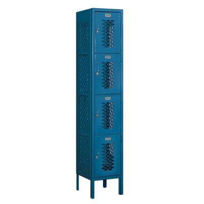 74000 Series 4-Tier 12 in. W x 66 in. H x 12 in. D Vented Metal Locker Ready to Assemble in Blue