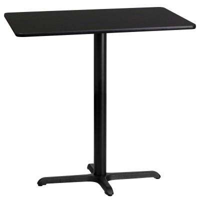 24 in. x 42 in. Rectangular Black Laminate Table Top with 22 in. x 30 in. Bar Height Table Base