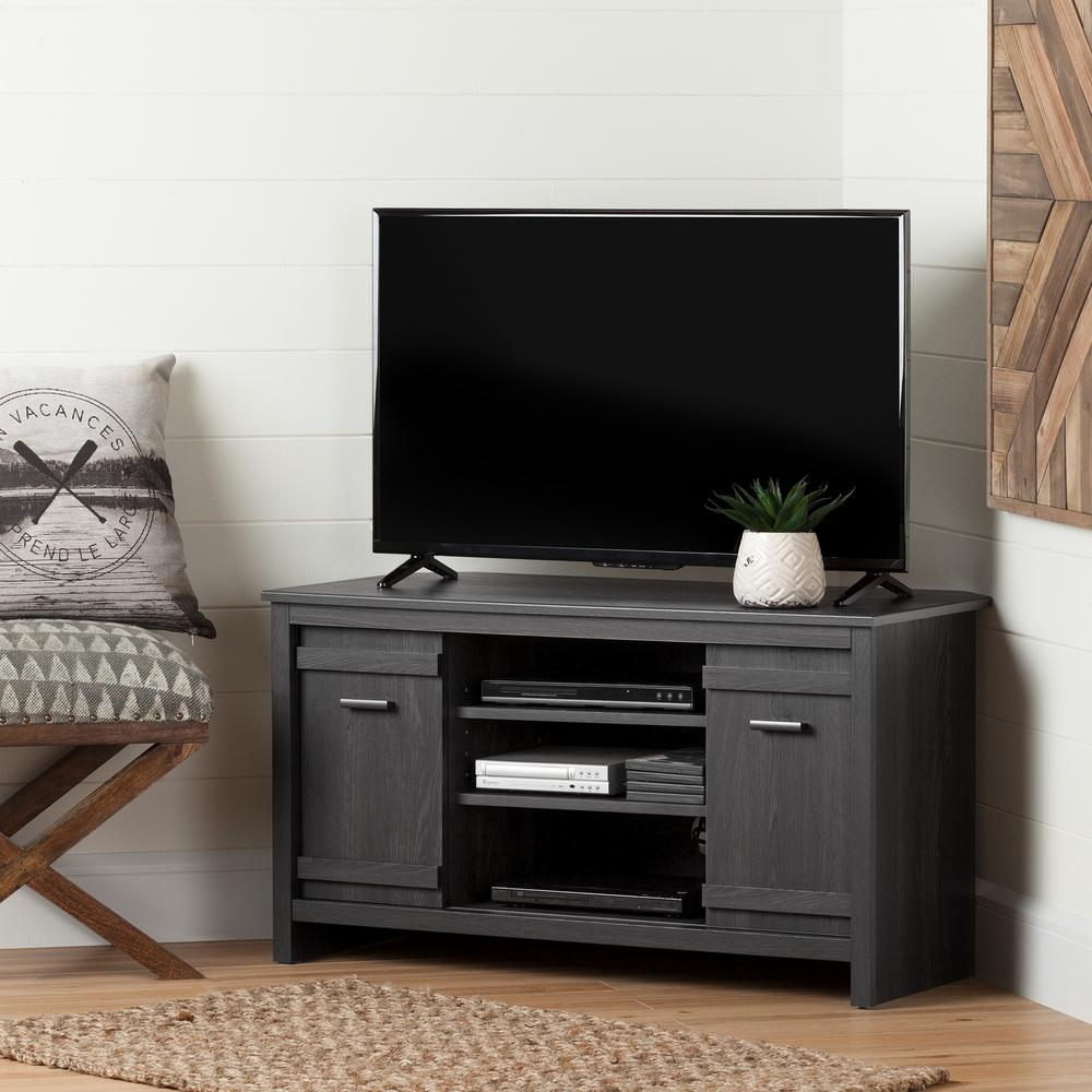 Exhibit 50 Disk Capacity Corner Tv Stand In Gray Oak