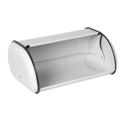 White Roll Up Lid Stainless Steel Bread Storage Box