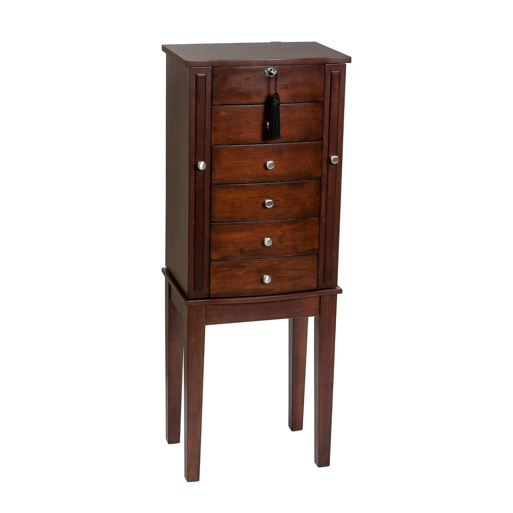 Cedar Jewelry Armoire ~ Sauder county line rum walnut armoire the home depot