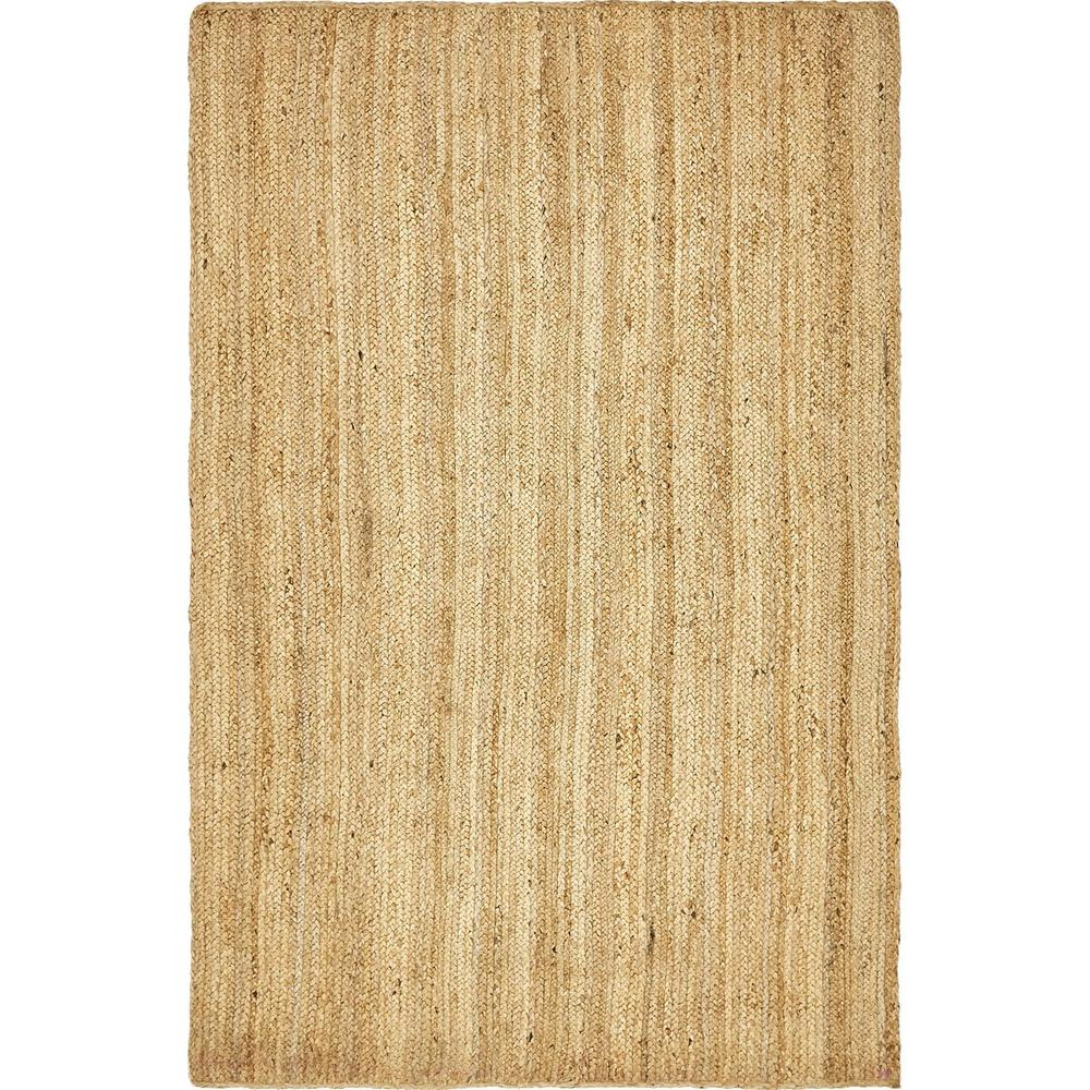 Unique Loom Braided Jute Natural 5 Ft X 8 Ft Area Rug