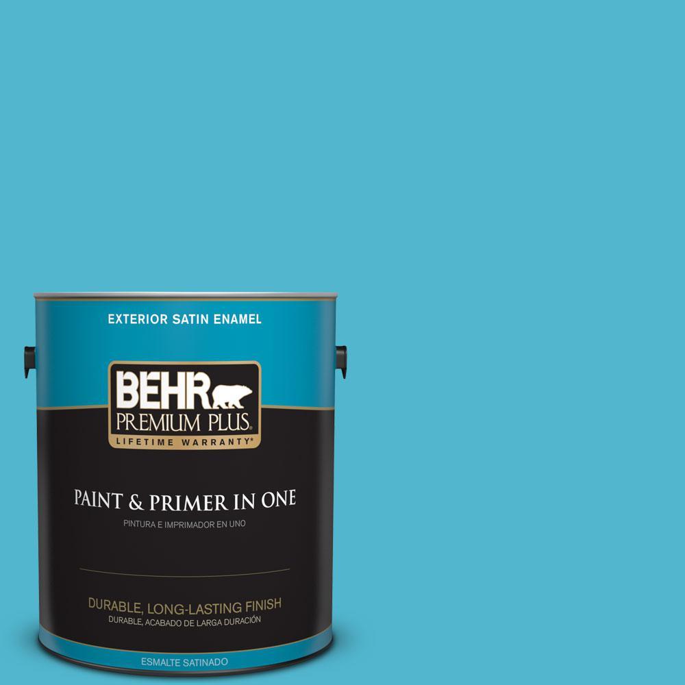 BEHR Premium Plus 1-gal. #520B-5 Liquid Blue Satin Enamel Exterior Paint