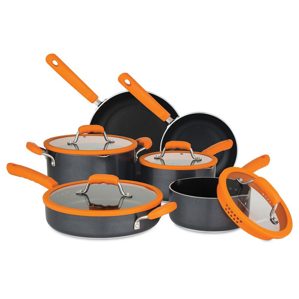 10-Piece Orange Cookware Set with Silicone Strainer Lids