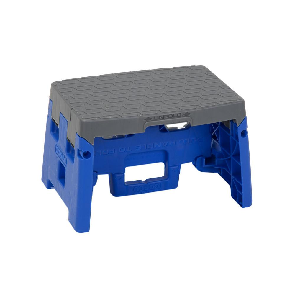 Cosco 1-Step Resin Molded Folding Step Stool with Type 1A in Blue and Gray  sc 1 st  The Home Depot : large folding step stool - islam-shia.org