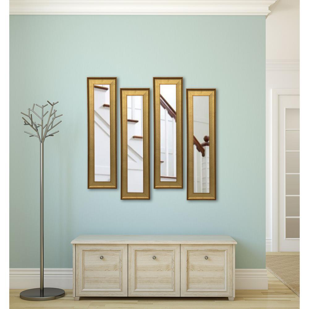 9.5 in. x 37.5 in. Vintage Gold Vanity Mirror (Set of 4-Panels)