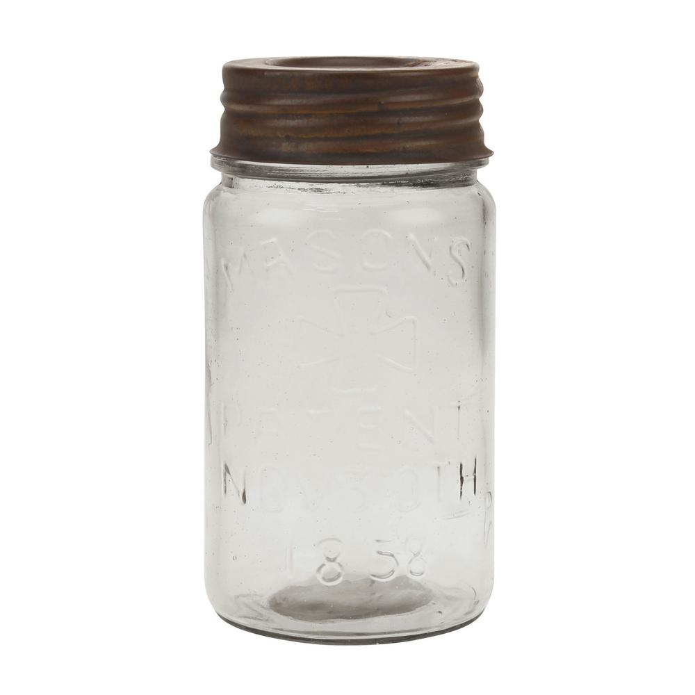 Clear Glass Mason Jar with Rust Lid